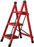 Escalera Plegable de Aluminio Escalera de Tijera Estable, Delgada, Antideslizante y portátil de 3 escalones con Pedal Ancho y Taburete Multifuncional para Uso doméstico