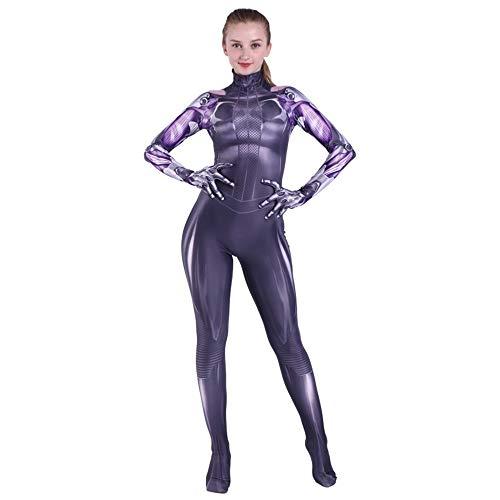 Hope Alita Disfraces de Anime Adultos Mujeres Traje de Cosplay Traje Onesie Disfraces Escenario Rendimiento Medias combinadas,Purple-XXL