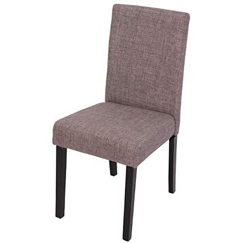 Mendler 2X Esszimmerstuhl Stuhl Küchenstuhl Littau - Textil, grau, dunkle Beine