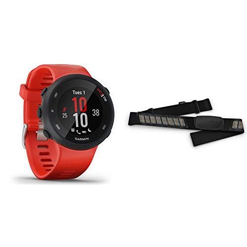 Garmin Forerunner 45, Orologio Smart GPS per la Corsa e Altri Sport Unisex, Rosso, L & HRM-Dual Fascia Cardio Premium ANT+ e Bluetooth BLE, Nero, One Size