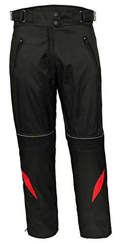 Ledershop-online Bangla 1711 Damen Motorradhose Tourenhose Textil Cordura 600 Schwarz Rot XL