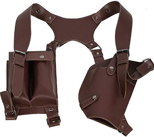 Halloween Brown PU cuero hombro pistolas juego Cosplay traje para adultos traje de lujo ropa accesorios