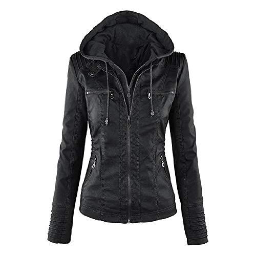 NP Dames herfst / winter kunstleer jas dames zwart PU rits street wear