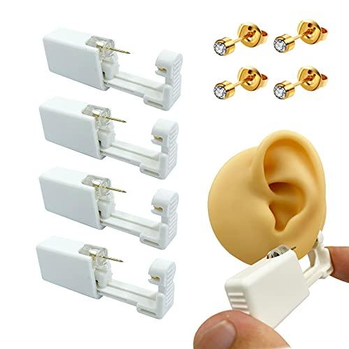 4 Pack Disposable Sterile Ear Piercing kit, self piercing earrings Gun,A fun at home piercing kit (Gold)