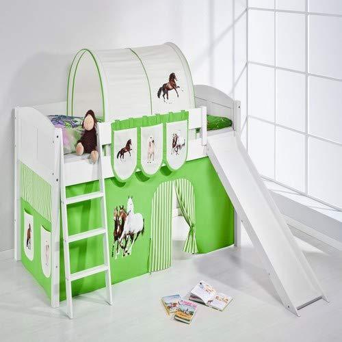 Lilokids Spielbett IDA 4106 Pferde Grün Beige-Teilbares Systemhochbett weiß-mit Rutsche und Vorhang Kinderbett, Holz, 208 x 220 x 113 cm