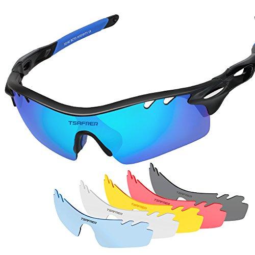 Tsafrer Polarized Sports Sunglasses 2 Pairs for Men Women Cycling Running Driving Fishing Golf Baseball (T1Black-Blue)