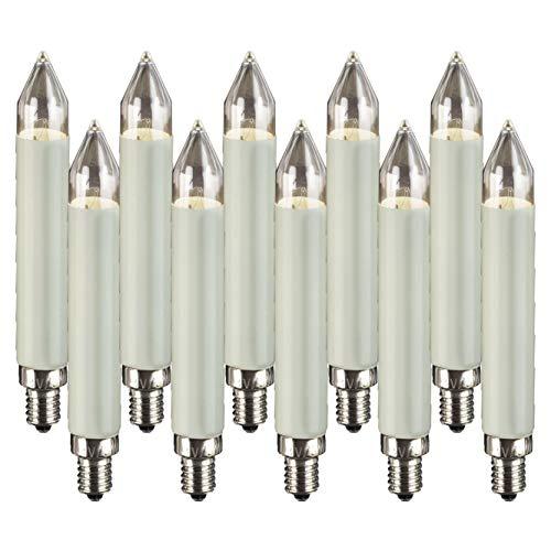 Hellum 901016 Ersatz-Schaftkerze für Lichterketten mit 30 Brennstellen/Innen- und Außenbeleuchtung/warmweiß/elfenbein / E10 Sockel / 8 V / 3 W / 10 Stück
