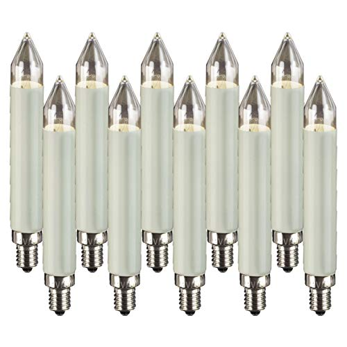 Hellum 908015 Replacement Shaft Candle for 10 Burners / Indoor and Outdoor Lighting / Warm White / Ivory / E10 Base / 23 V / 3 W / Pack of 10