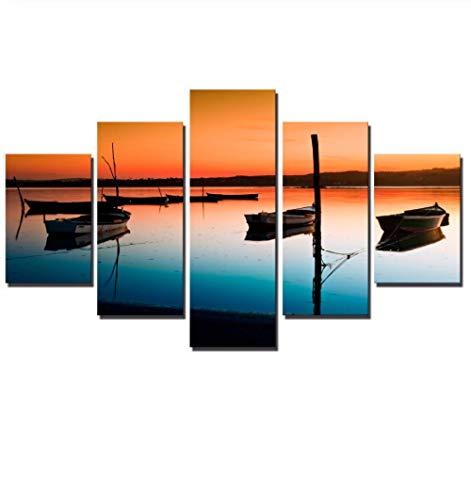 YANCONG Cuadro En Lienzo Cuadros Decoracion Lienzo Enmarcado Sunset Seascape Boats Color Cálido 5 Piezas Arte De Pared 100X55Cm