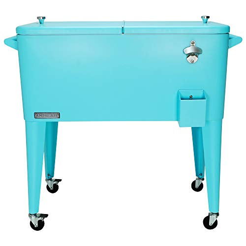 Permasteel PS-203-TURQ-AM 80 Quart Portable Rolling Patio Cooler, Turquoise