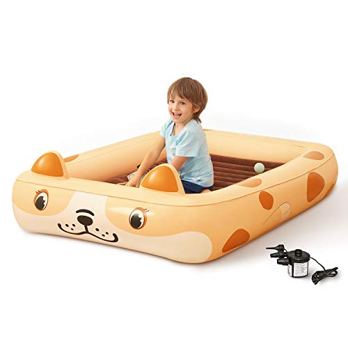 Kids Inflatable Toddler Travel Bed Cartoon Dog, Portable Kids Air Mattress, Integrated Blow Up Airbed with 4-Sided Safety Bumpers & 2 in 1 External Electric Pump for Kids, Toddler, Camping, Travelling