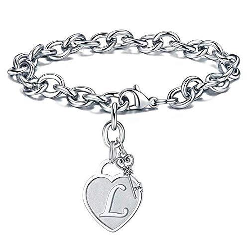 Bracelet 26 Alphabet Lettre Coeur Bracelet pour Femmes Fille Argent Couleur A-Z Nom Initial Charme Bracelets Anniversaire Soeur Bijoux Cadeau L