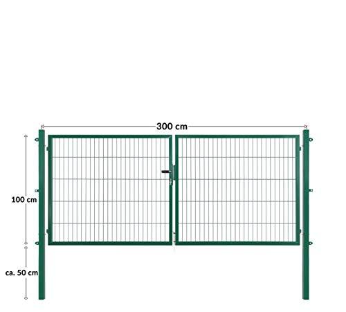Doppelflügeltore für Stabmattenzaun, grün oder anthrazit, verschiedene Höhen wählbar - inklusive Pfosten und passenden Anschlussstücken (Doppeltor H 100 x B 300 cm, grün)