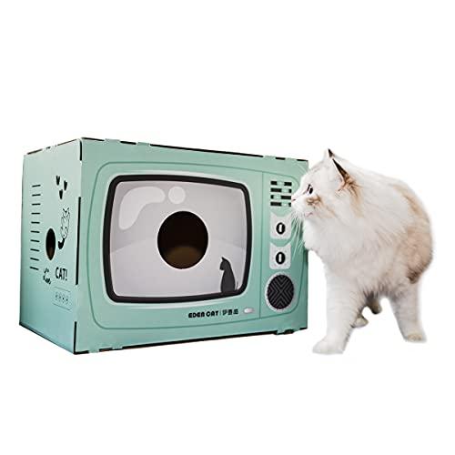 Elephant Baby 猫用 ペットルーム 猫ハウス ねこソファー 四季使える 爪やすり 爪磨き 爪研ぎ 爪とぎ テレビの形をした猫用アパート キャットスクレーパー 可愛い 組み立て簡単 高密度段ボール ストレス解消 通気 ペットハウス 42.5×30
