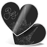 Impresionante 2 pegatinas de corazón de 15 cm BW – Paris Francia Travel Torre Eiffel calcomanías divertidas para portátiles, tabletas, equipaje, reserva de chatarra, frigorífico, regalo genial #43336