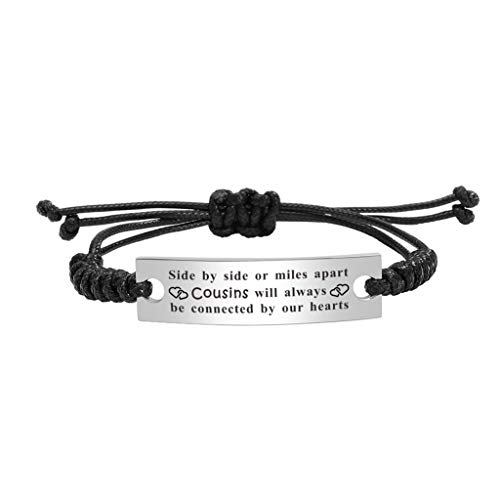 Cousins Make the Best Friends, Long Distance Cousin Gifts for Men Women, Side By Side or Miles Apart Best Cousins Will Always Be Connected By Our Hearts, Cousins Bracelett
