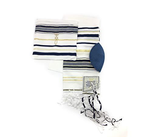 Messianischer Tallit Gebetsmantel, dunkelblau und goldfarben, mit Talis-Tasche Size: In inches: 72'' / 22'' In cm: 182 / 55 Dunkles Marineblau und Gold