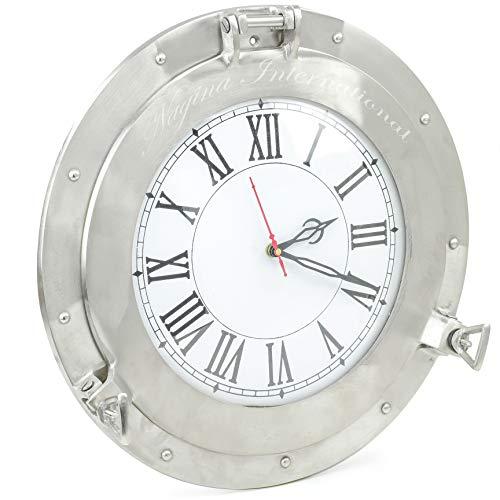 Nagina International Brushed Nickel Aluminum Metal Roman Porthole Clock   Nautical Navy Decor Gifts (20 Inches)