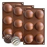 KITCHENATICS Moldes para Bombas, moldes de Silicona semiesfera para Caramelos, Pasteles, jaleas, mousses, trufas, jabones - sin BPA, tamaño Grande 6,35 cm de diámetro (Juego de 3 Piezas)
