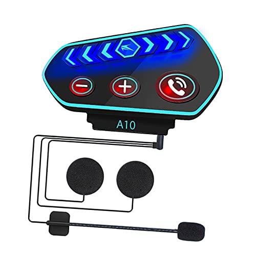 IPOTCH Auriculares Bluetooth para Motocicleta A10, Auriculares inalámbricos Bluetooth para Casco de Motocicleta Impermeable, Manos Libres