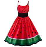 Photno Women's Cocktail Dress Sleeveless Sling Watermelon Print Rockabilly Prom red Dresses