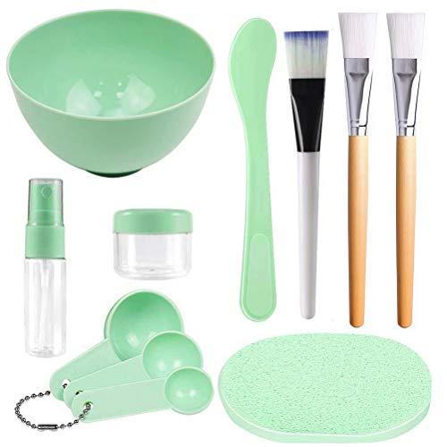 kuou Face Mask Mixing Bowl Set,Facial Mask Mixing Kit with Face Mask Brush Facial Mask Bowl Stick Spatula Gauges Puff for Mixing Clay Mask for Beauty Makeup Spa Salon(Pack of 11)