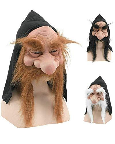 Rubber Johnnies , Mascarilla dorada para hombre viejo, talla nica, mago de Halloween, barba maga, trol, enano, disfraz de fantasma, disfraz de GNOME, mscaras realistas