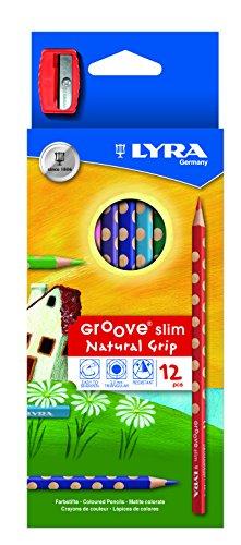 LAPICES de Colores Lyra Groove Slim Estuche de 12 con AFILALAPIZ