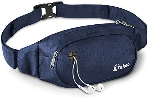Vakoo Marsupio Uomo Donna, Sportivo Cintura Corsa con 3 Zip-Tasche e Tracolla Regolabile per Running Escursioni Viaggio Outdoor (Blu)