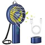 Tvird Ventilatore Portatile Manico, Ventilatore Ricaricabile USB Ventilatore da Tavolo/Ventilatore a Mano, Mini Ventilatore Portatile per Ufficio/Casa/Campeggio/Viaggi(2200mAh,3 velocità)