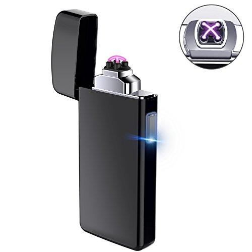 AngLink Feuerzeug, USB Elektro-Feuerzeug Dual Lichtbogen, Aufladbar Winddicht Lange Lebensdauer für Küche Grill Kerzen Zigaretten