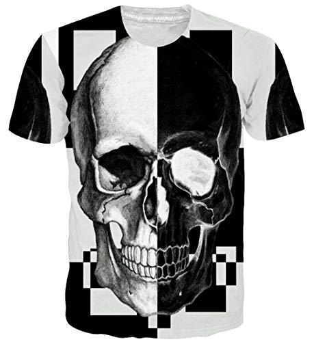 Goodstoworld Hombres Mujeres Camiseta con Estampado de Calavera Funny Summer Casual Casual Manga Corta Camiseta Camiseta Tops XXL