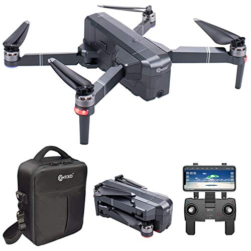 Contixo F24 Foldable Drone 1080P Quadcopter HD Live Video GPS Drones - FPV Drone with Camera for Adults and Beginner - 2500mAh Battery 30 Mins Flight Time - Foldable Brushless Motors - Carrying Case