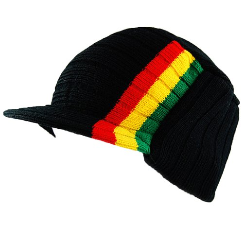 Rasta Visor Beanie Skull Cap Stripe Jamaica Reggae Beige Black