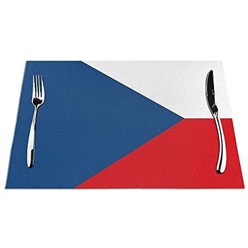 Hokdny Manteles Individuales para Mesa De Comedor Lavables Productos De La Bandera De La República Checa Manteles Individuales Antideslizantes Fáciles De Limpiar