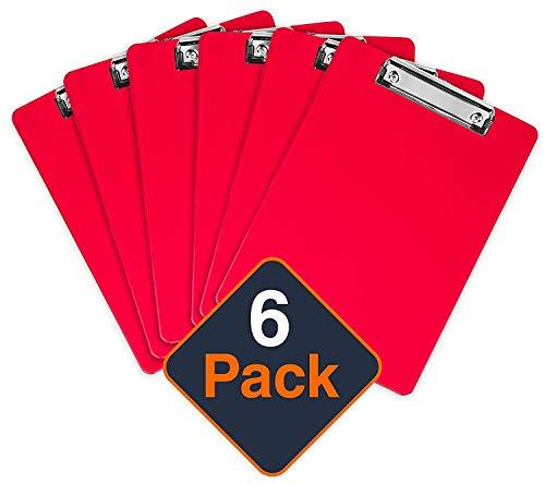 Kunststoff-Klemmbrett mit Metallclip | Plastik-Clipboard-Set nach Rot | Stabile Schreibunterlage mit Metallclip für 100 Blatt Papier | Transparente Acryl-Klemmbrettmappe | 6 Stück