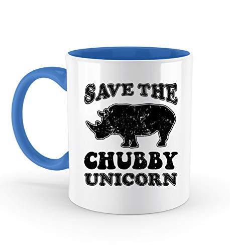 PlimPlom Save The Chubby Unicorns - Rettet Die Dicken Einhörner Kaffeetasse Bürotasse - Zweifarbige Tasse -330ml-Blau