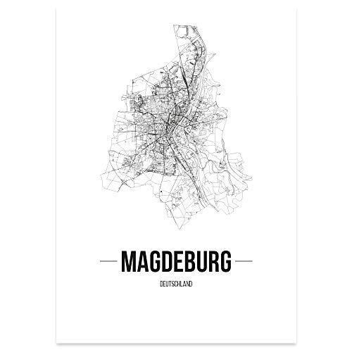 JUNIWORDS Stadtposter, Magdeburg, Wähle eine Größe, 30 x 40 cm, Poster, Schrift B, Weiß