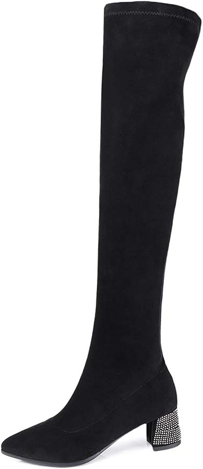 Wetkiss Fashion Elastic Women Boots Sexy Over The Knee Boots Thigh high Crystal Heels shoes Woman Winter Boot