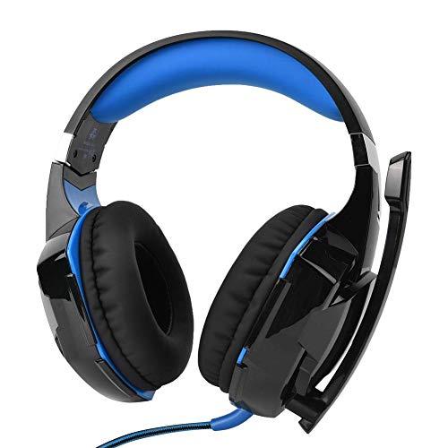 Gaminghoofdtelefoons,Bekabelde Stereobas USB PC-gamekoptelefoon,Computerhoofdtelefoon Met Snoer Met Ruisonderdrukkende Microfoon, Oogverblindend LED-licht, Draaivolumeregeling(Blauw)