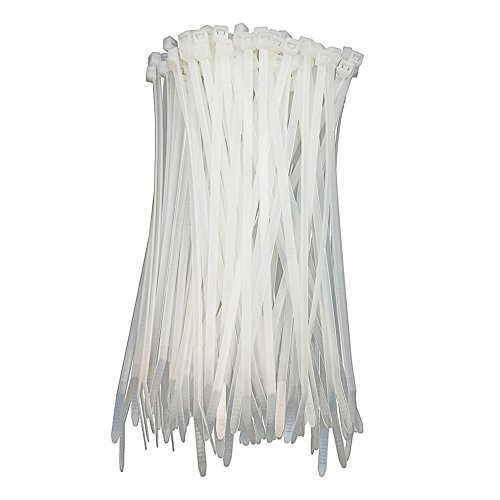 HS White Cable Ties 10 Inch Zip Ties 50 Lbs (100 Pack) Medium Clear Zip Ties for Office Home Outdoor Cable Management