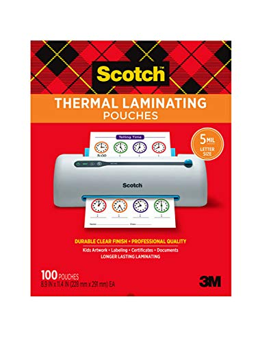 Scotch Thermal Laminating Pouches 5 Mil Thick for Extra Protection 100Pack 89 x 114 inches Letter Size Sheets Clear TP5854100