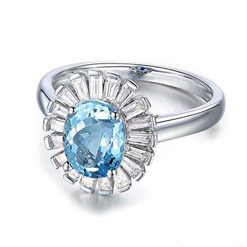 AmDxD Anillo Mujer 925, Anillos Compromiso Ovalada 6X8MM Azul Topacio con Circonita Blanco | Plata| Tamaño 6,75| Regalos para Mama (Circunferencia 47 mm)