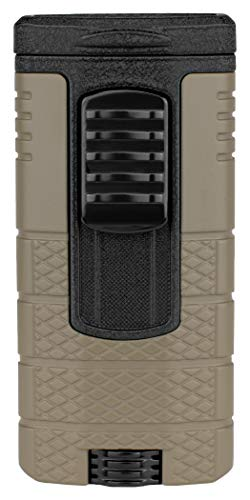Xikar Tactical Triple Jet Flame Lighter, Engineered for Performance, Removable Pocket Clip, Angled Jet Flames, Ergonomic Metal Body, Tan and Black