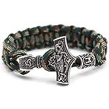 Bracelet Viking Anchor Rune Bracelet pour Homme Garçon Fait Main Tressé Camouflage Parapluie Bracelet Punk Homme Bijoux 19Cm-Vert Anniversaire Cadeau De Noël