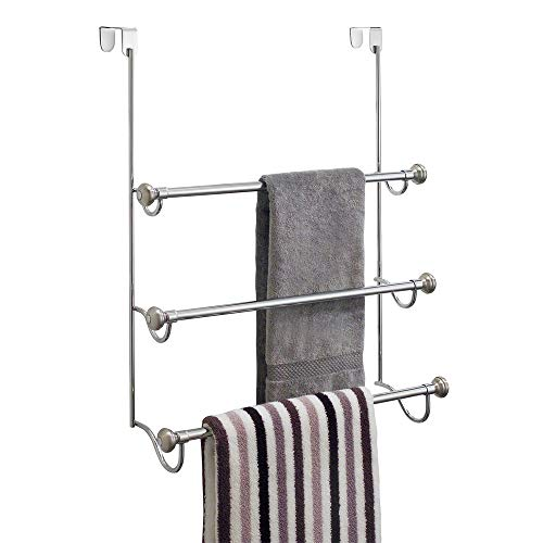 "iDesign York Over the Shower Door Towel Rack for Bathroom, 1.5"" x 7"" x 22.8"", Chrome/Brushed,79150"