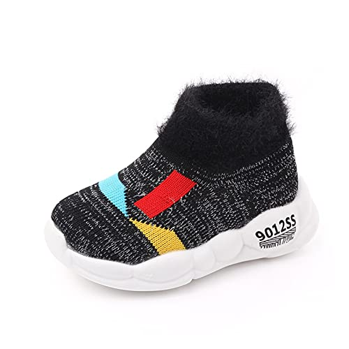 FURONGWANG6777BB Baby Girls Boys Snow Winter Boots Newborn Kids Cálido Peluche Calzado de Invierno Zapatos de algodón Caliente Botas (Color : Black, Shoe Size : 22 (13.5cm))