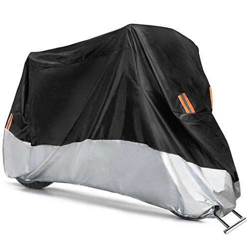COFIT Funda para Moto, Cubierta de Motoa Impermeable, Anti Viento Polvo UV Lluvia Humedad Protector con Agujeros de Bloqueo - XL