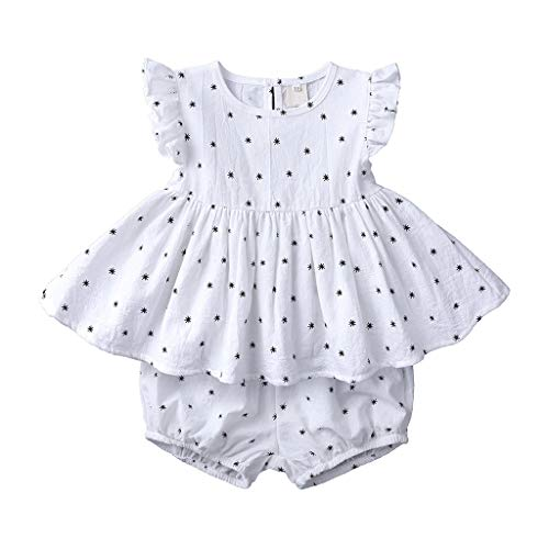 LEXUPE Infant Baby Kid Girl Ruffle Print ärmellose Oberteile + Brot Shorts Outfits Set(Weiß,120)