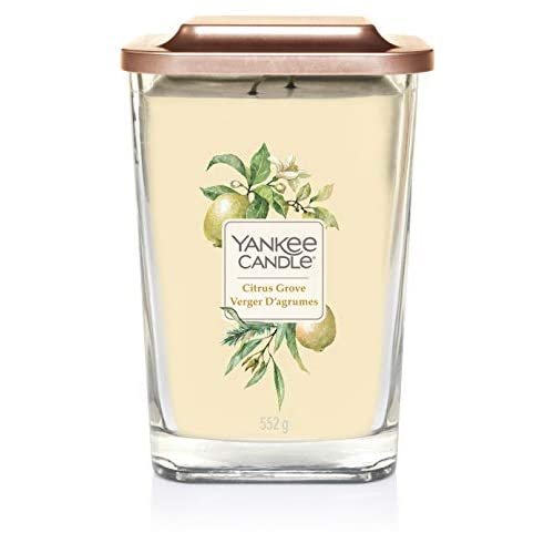 Yankee Candle Elevation Collection con Coperchio della Piattaforma Candela Quadrata a 2 Stoppini, Agrumeto, Grande